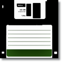Retro - Siyah Floppy Disket Kanvas Tablo - Thumbnail