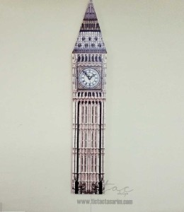 Geometrik Kanvas Tablo Saat - Big Ben London - Thumbnail