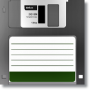 Retro - Gri Floppy Disket Kanvas Tablo - Thumbnail