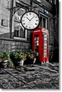 Kanvas Tablo Saat - London Street Clock - Thumbnail